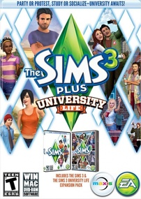 The Sims 3 Plus University Life packshot box art